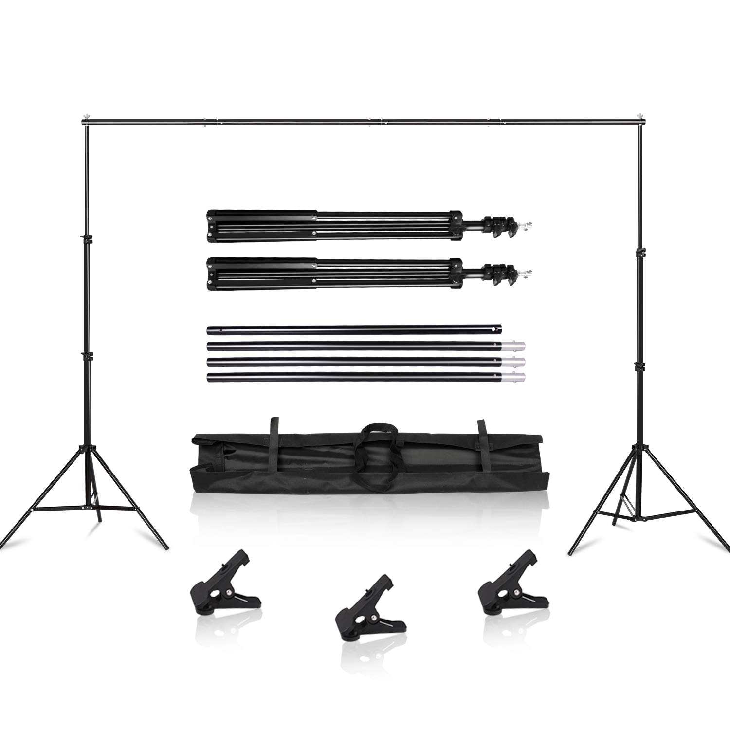SH Background Stand, 6.5 x 10FT Heavy Duty Background Stand, 2x3M Backdrop Support System Kit with Carry Bag for Photography Photo Video Studio,Photography Studio by SH