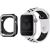 Kit Pulseira Capa Case Silicone Furos Branco Preto, compatível com Apple Watch 44mm Pulso Pequeno
