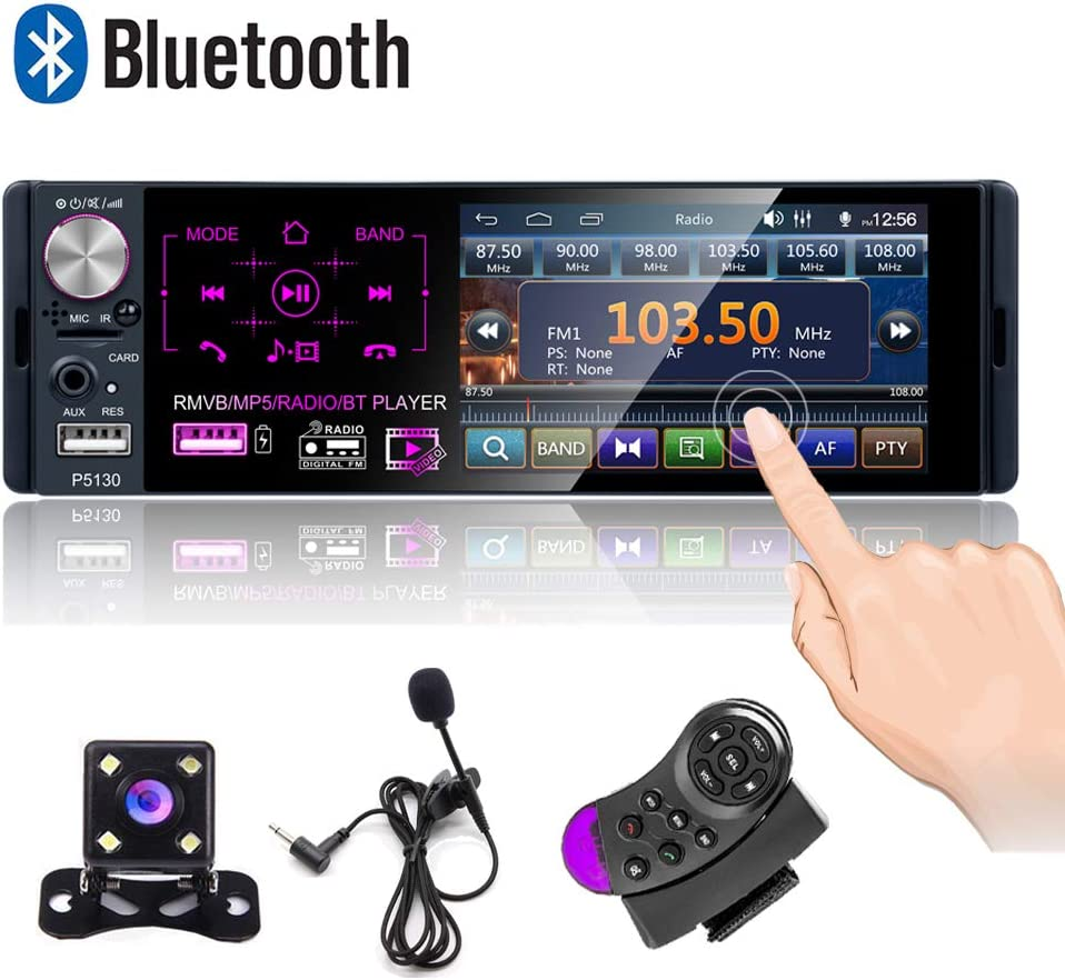 USB Fast Charging FM Receiver LED Rear View Camera MP3//USB//AUX Input Hikity Single Din Car Stereo System 4.3 Inch Digital Screen Car Radio Bluetooth Audio Hands Free Call SWC Remote Control