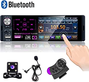 Camecho Single Din Bluetooth Car Radio 4'' Capacitive Touch Screen Car Stereo FM/AM/RDS Radio Receiver with Dual USB/AUX-in/SD Card Port + Backup Camera & Steering Wheel Control