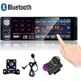 Camecho Single Din Bluetooth Car Radio 4'' Capacitive Touch Screen Car Stereo FM/AM/RDS Radio Receiver with Dual USB/AUX…