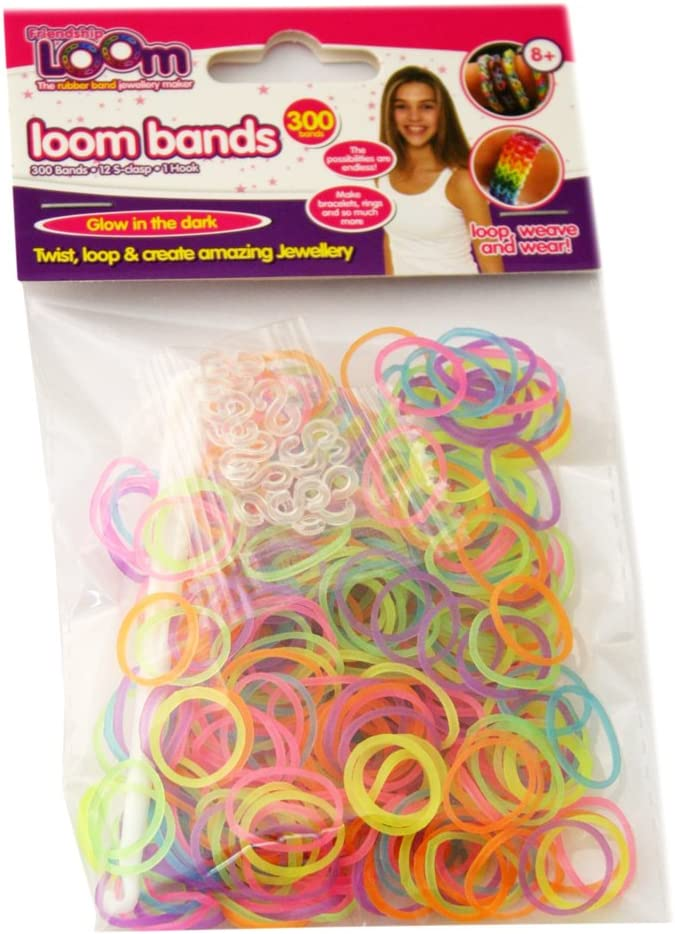 12 S Hooks Friendship Looms 2-Tone Stripey Duo Colour Loom Bands 300 Bands Tool