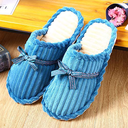 Color : Blue, Size : 2 Wanrane Indoor Cozy Warm Slippers Korean Version of Autumn and Winter Ribbon Solid Bottom Corduroy Autumn and Winter Indoor Home Wood Floor Non-Slip Warm Cotton Slippers