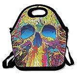 Abstract Colorful de calavera Durable Fácil al aire última intervensión almuerzo bolsa de almuerzo Box térmica bolsa enfriador bolsa de almuerzo, regalo para mujeres hombres Niños Niñas