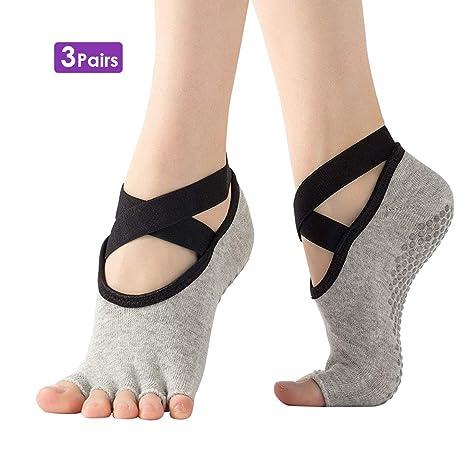 NON Calcetines de Yoga de Medio Dedo Antideslizantes para ...