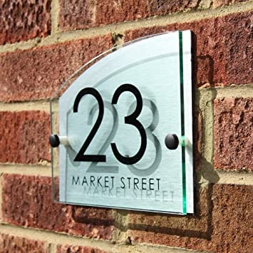 Door numbers uk black door numbers for Modern house number plaques