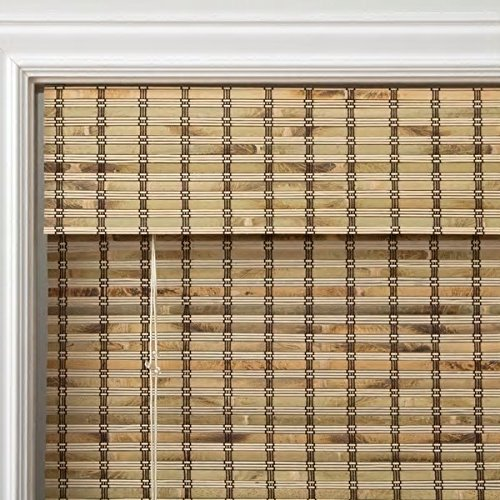1 Piece 70''Wx74''L Multi Grain Brown Ochre Tan Natural Wood Pull Up Bamboo Blind. Eco Friendly Rustic Roman Country Horizontal Slat With Built In Valance Nature Window Treatment Allows Gentle Sunlight by PH (Image #2)