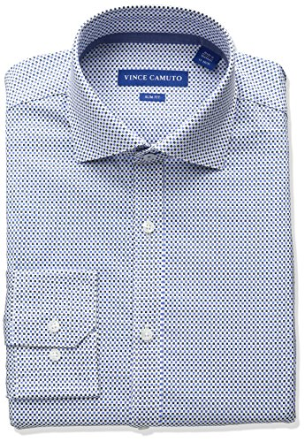 - VINCE CAMUTO Men's Slim Fit Stretch Geo Print Dress Shirt with Comfort Collar, Ink/White, 15 34/35