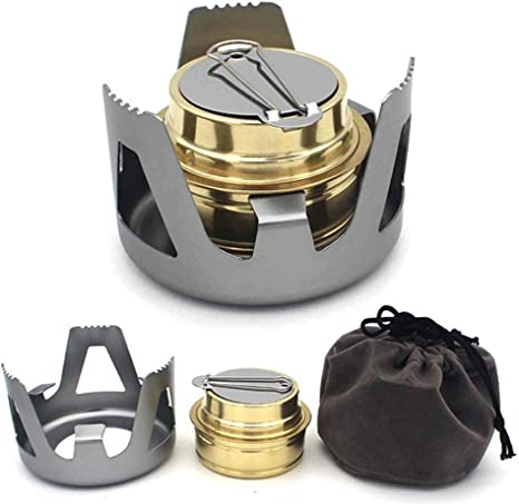 Portable Stainless Steel Alcohol Stove Burner Outdoor Camping Hiking Cooking Pot
