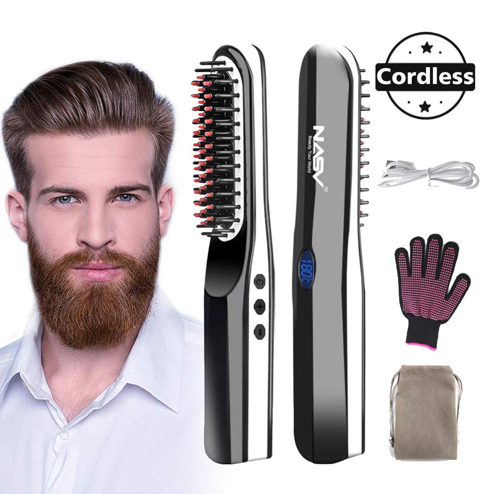 Beard Straightening Brush - soyond 2 in 1 Heating Ionic Enhanced Hair Straightening Brush Cordless Beard Straightener Brush by soyond
