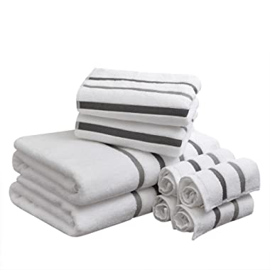 Comfort Spaces Cotton 8 Piece Bath Towel Set Striped Ultra Soft Hotel Quality Quick Dry Absorbent Bathroom Shower Hand Face Washcloths, Charcoal