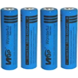 Skytower New Set WPG Wonderful Green Power 4 x 18650 4200mAh 3.7V Lithium Cobalt High Capacity Button Top for UltraFire Cree Head Torch Flashlight Rechargeable Battery (4pcs)