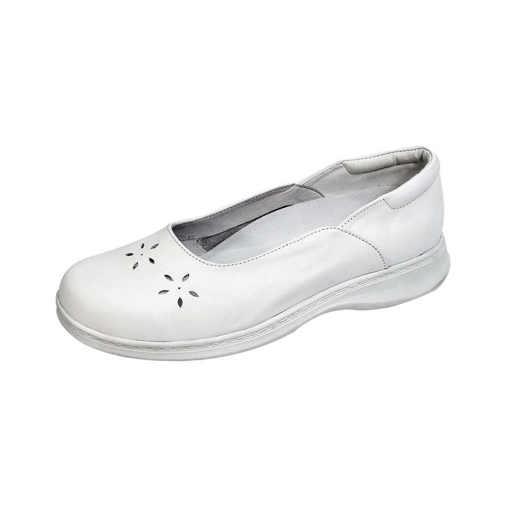 24 Hour Comfort  Ariel (1022) Women Wide Width Leather Slip On Shoes White 5