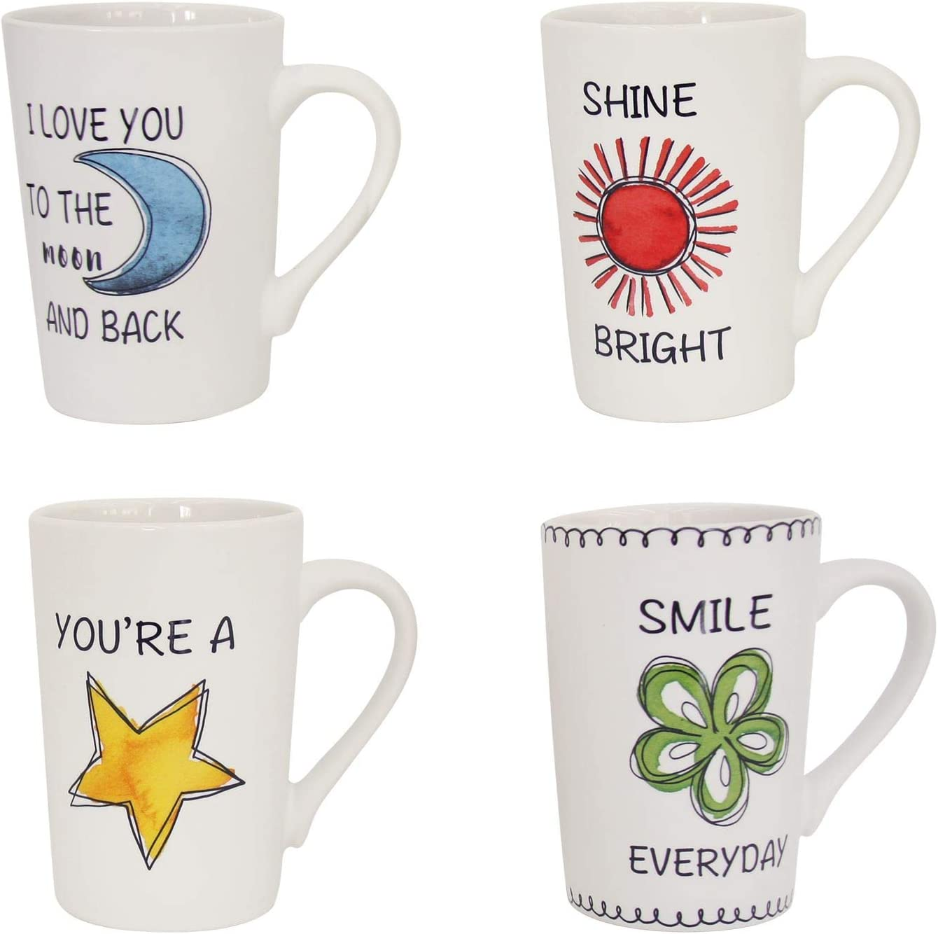 Set of 4 Coffee Mugs Tea Cups with Quote Caption Illustration Print Home Kitchen Accessory Gift Microwave Dishwasher Safe Porcelain 13.5oz