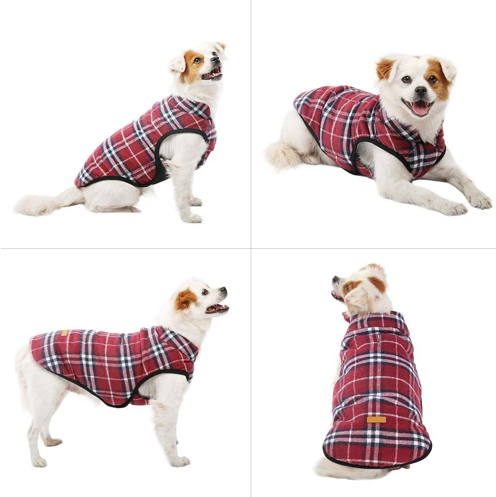Kuoser Dog Winter Clothes with Leash Hook,Extra Warm Super Soft Fleece Lined Pet Coat,Windproof Slim Body Fit Cozy Cold Weather Plaid Vest Jacket Outwear for Small Medium Large Dogs XS-3XL
