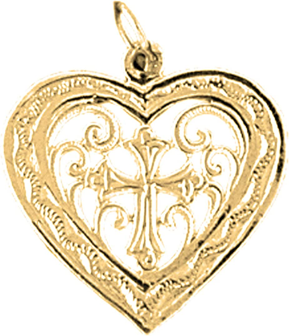 14K Yellow Gold-plated 925 Silver Heart Pendant Jewels Obsession Silver Heart Pendant