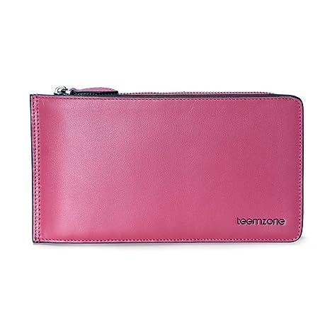 Teemzone Cartera Tarjetero de Mujer Piel Monedero Billetera Cremallera de Color Caramelo (Rosa)