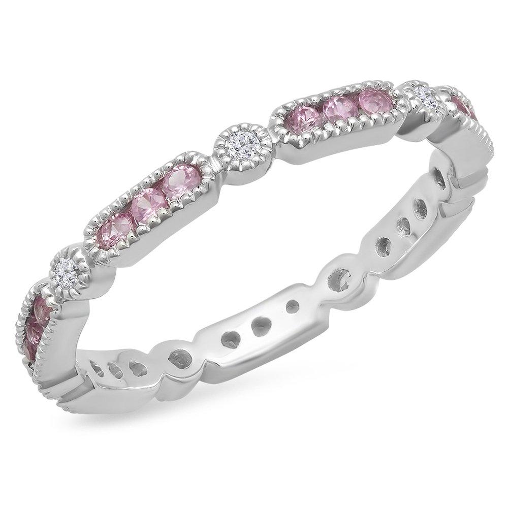 14K White Gold Round Pink Sapphire And White Diamond Ladies Vintage Style Wedding Eternity Band 1/2 CT