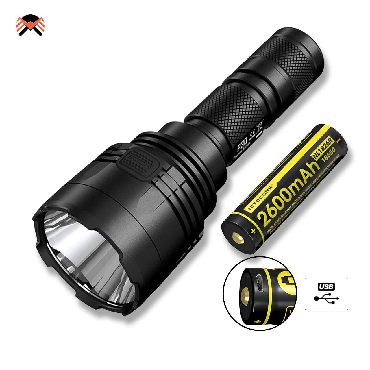 NITECORE P30 LINTERNA LED 1000 Lumenes 618M Distancia IPX8 Impermeable [ Baterí a Recargable USB 2600mAh INCLUIDA ]