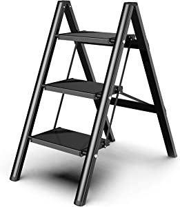 3 Steps Ladder Black Aluminum Lightweight Folding with Anti-Slip and Wide Pedal for Home and Kitchen Space Saving