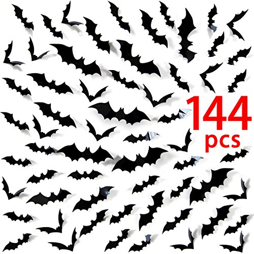 Ivenf 144 Pack Medium-sized Halloween Scary Plastic 3D Bats Wall Decals Window Decor Party Supplies (Diy Halloween Wall Decor Bats Paper Sticker)