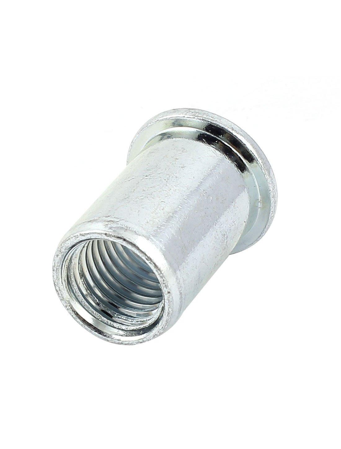Uxcell a15050400ux0097 Open End Metal Rivet Nut Flat Head Insert Nutsert Fastener M16x33mm Rubber
