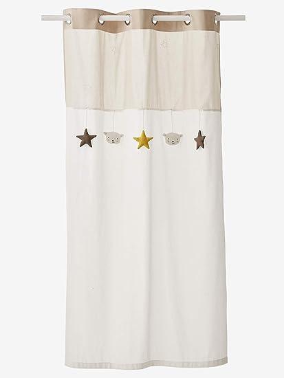 VERTBAUDET Rideau Voilage /étoiles Blanc//Grege 105X240