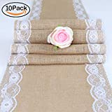 TRLYC Pack of 10 Handmade Burlap Table Runners Vintage Wedding Table Runners with Country Cream Lace/Rustic Table Decor-12X108 Inch