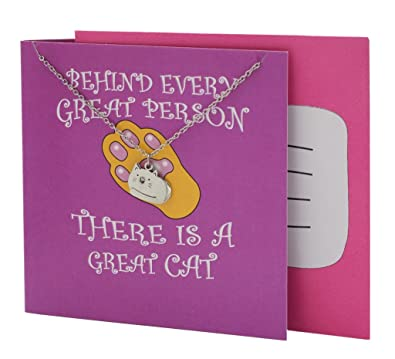 Amazon Quan Jewelry Cat Pendant Necklace For Women Funny Birthday Cards Gifts Lovers Animal Inspired Charm