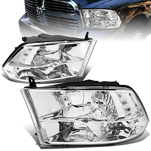Dodge Ram Chrome Housing - For Dodge Ram Pair of Chrome Housing Clear Corner Quad Headlight Lamp - 4th Gen DS/DJ/D2