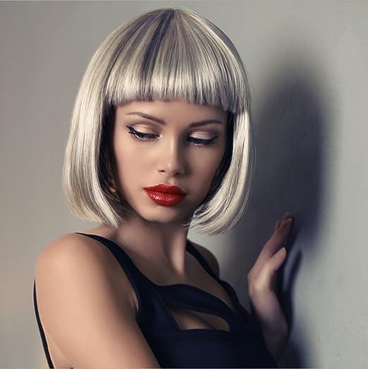Jl Kurze Glatte Haare Perücke Weibliche Qi Liu Haibo Kopf