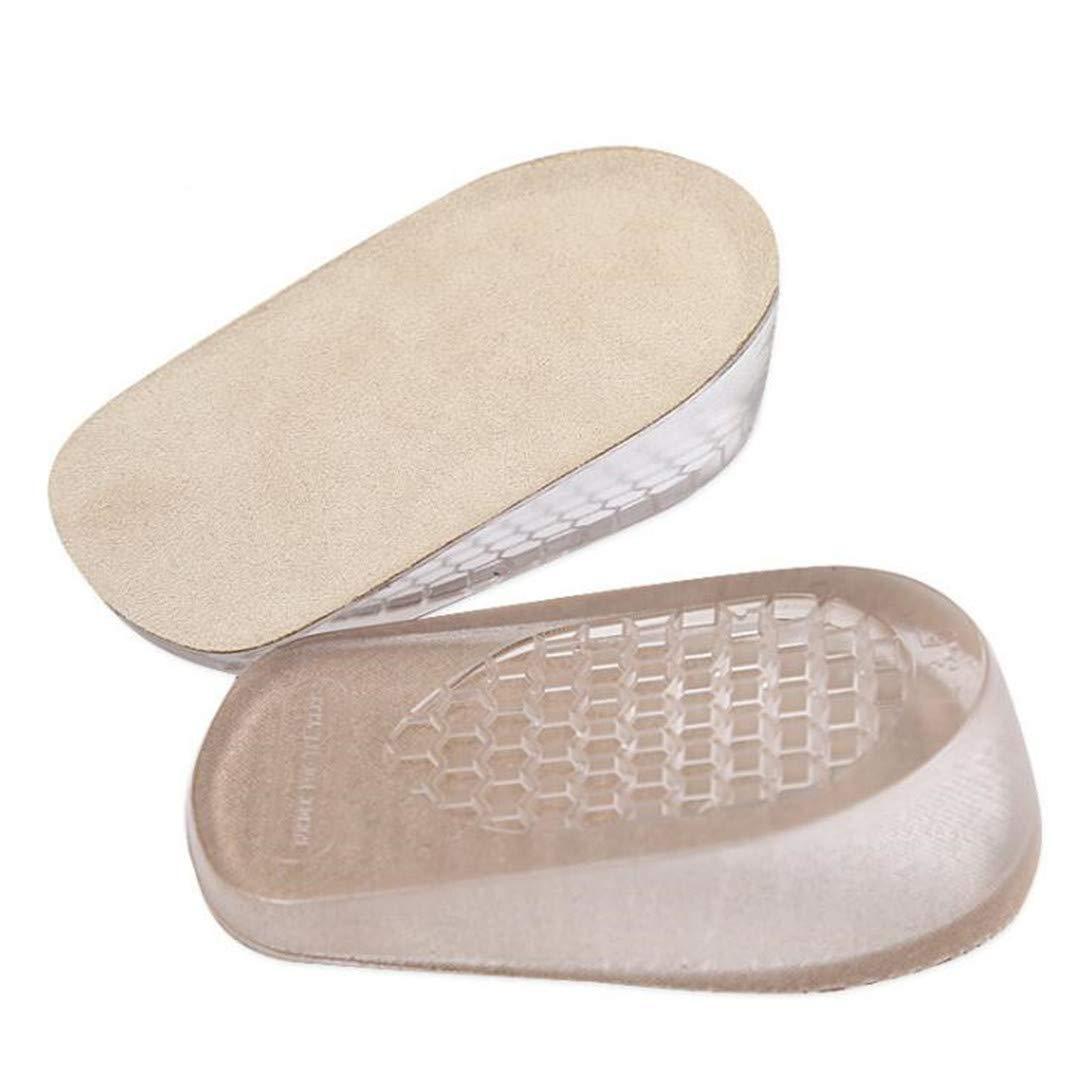 1 paar Unisex erhöht Einlegesohle einlegesohle erhöhung halb Fersenstütze Höhe Schuhe Unsichtbar Silikon-Gel Atmungsaktiv Rutschfest Stoßdämpfung für Freizeit Alltag und Beruf (2.5 CM / EU34-39, Beige) Wunhope