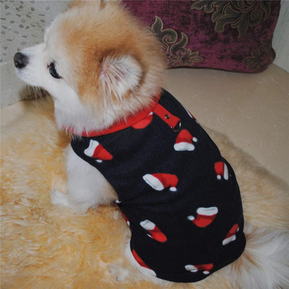 EFINNY Pet Fleece Harness Vest Sweater Coat Jumper for Small Breed Dogs Cat X-small