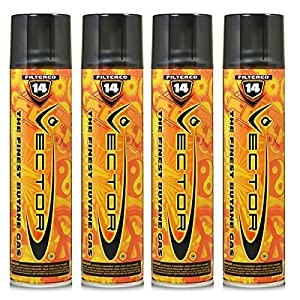 4 cans of Vector Premium 320ml 14x Filtered Refined Butane Fuel by KGM Vector