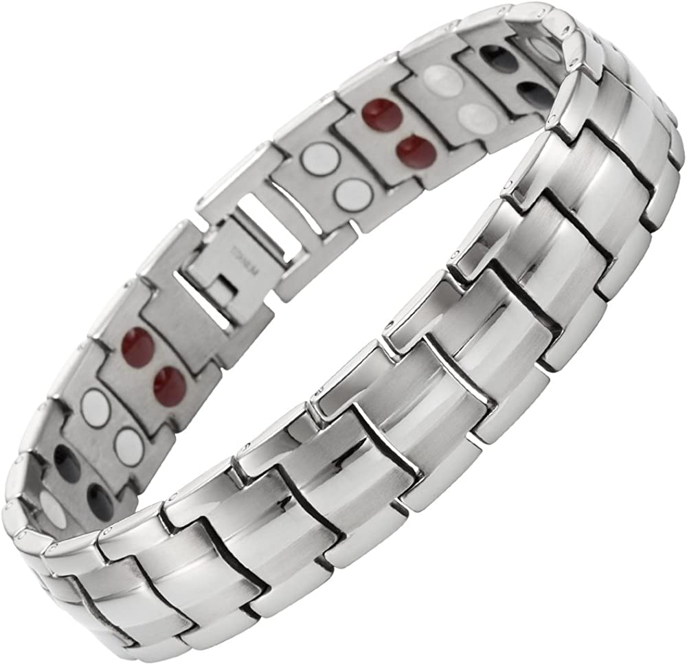 Willis Judd Mens Titanium Magnetic Therapy Bracelet for Arthritis Pain Relief Adjustable