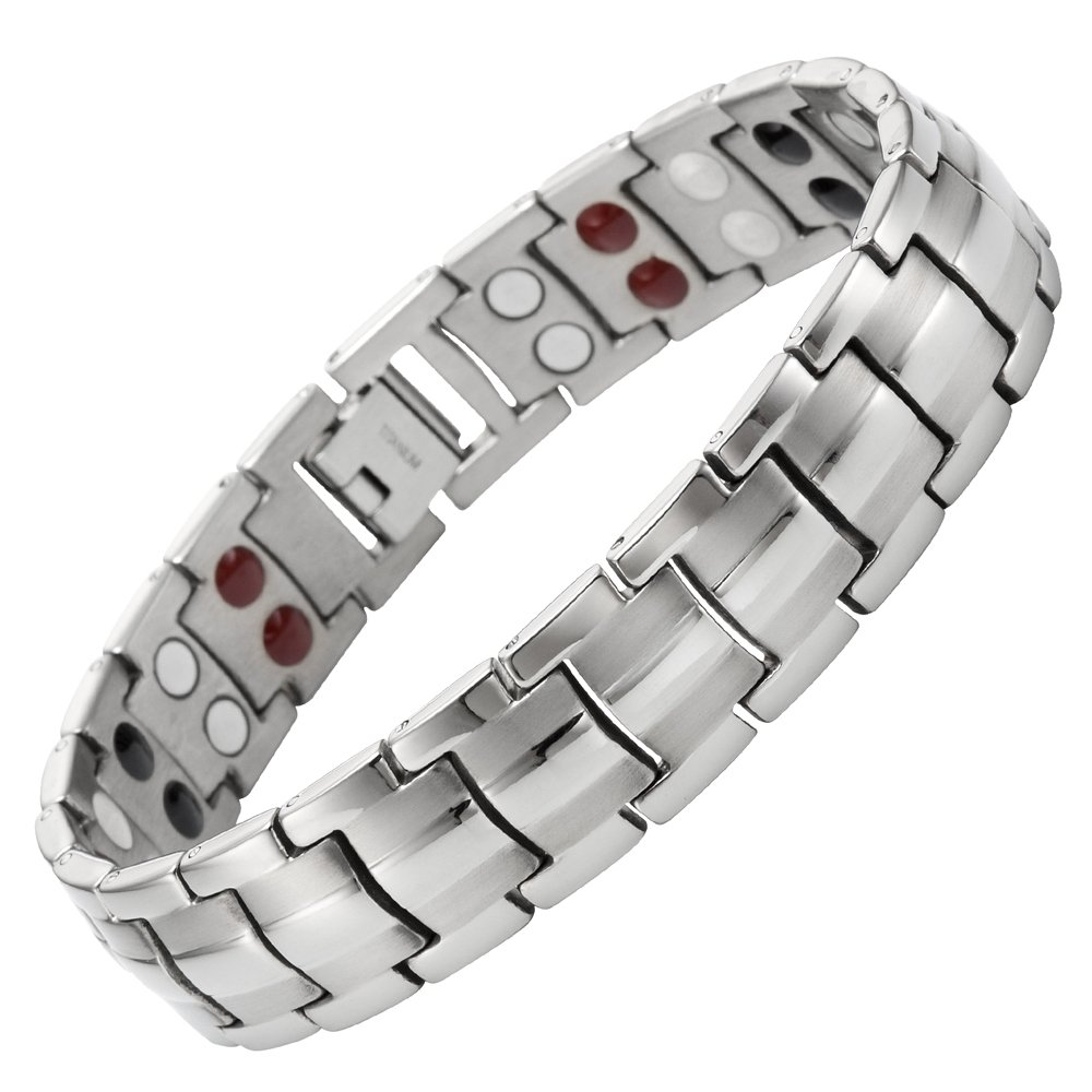 Willis Judd Double Strength 4 Element Titanium Magnetic Therapy Bracelet for Arthritis Pain Relief Adjustable by Willis Judd