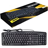 Wired Multimedia Keyboard with Media & Internet Shortcut Keys Compatible with Windows or Mac