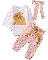 Mameluco Bebé Niña Recién Nacidos Conejo Conjuntos de Ropa Top + Pantalones Ropa Set Blanco y Rosa