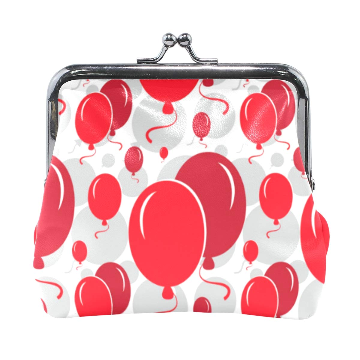 Red Balloons Happiness Coin Purse Buckle Vintage PU Pouch Kiss-lock Wallet for Women Girl