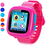 "Game Smart Watch for Kids, Children's Camera 1.5 ""Touch Screen Pedometer 10 Games Timer Alarm Clock Health Monitor Boys Girls Game Watches(Pink)"