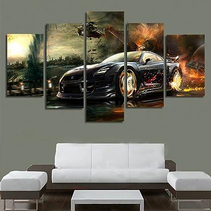 Amazon.com: H.COZY 5 Panel Balck Sports Car Wall Art Picture Home ...