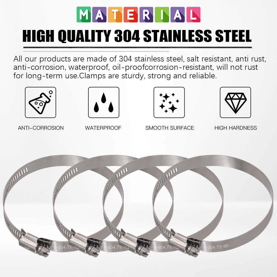 118-140mm Glarks 15Pcs 118-140mm//4.6-5.5inch Range 304 Stainless Steel Adjustable Worm Gear Hose Clamps for Fuel Line Clamp for Water Pipe Automotive and Mechanical Plumbing