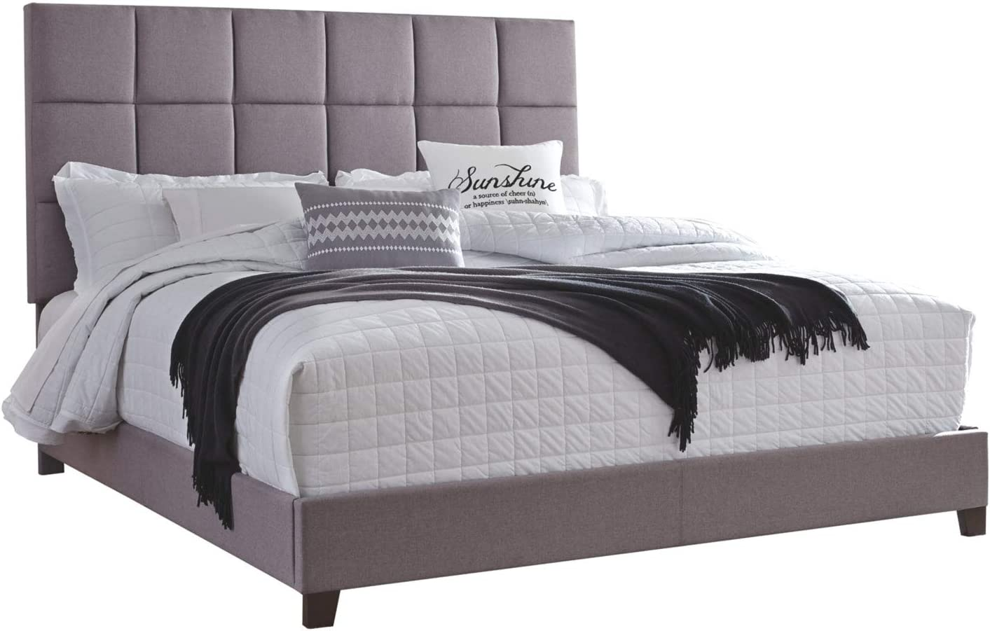 Ashley Furniture Signature Design - Dolante Upholstered Bed - King Size - Complete Bed Set in a Box - Contemporary Style Checker - Gray