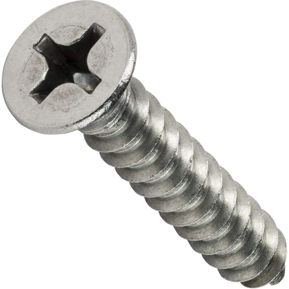 #10 x 1/2'' Phillips Flat Head Sheet Metal Screws Stainless Steel Qty 1000