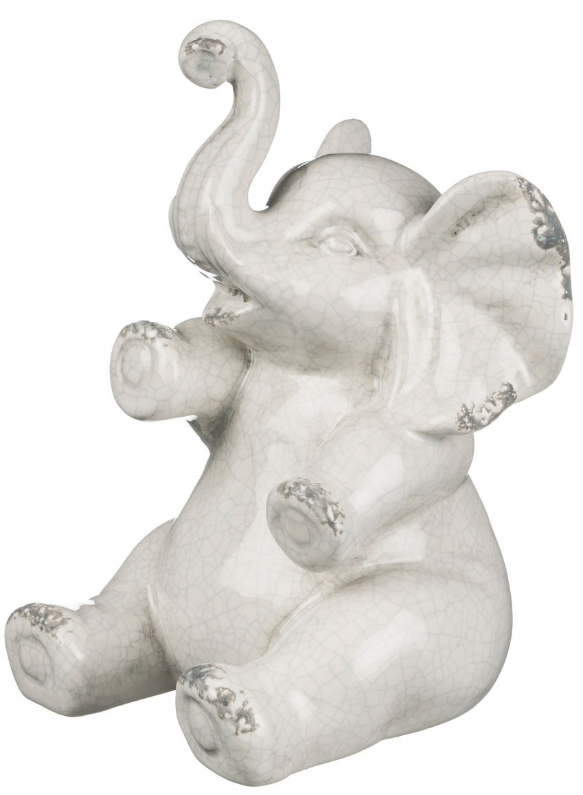 Sullivans Ceramic Elephant Figurine, 5 x 8 Inches, White (CM2715)