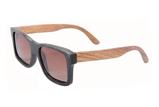 e2834c0b7ca Square Glasses Wood Frame for Men Polarized Retro Wooden Sunglasses with  Case- Z6095 (black