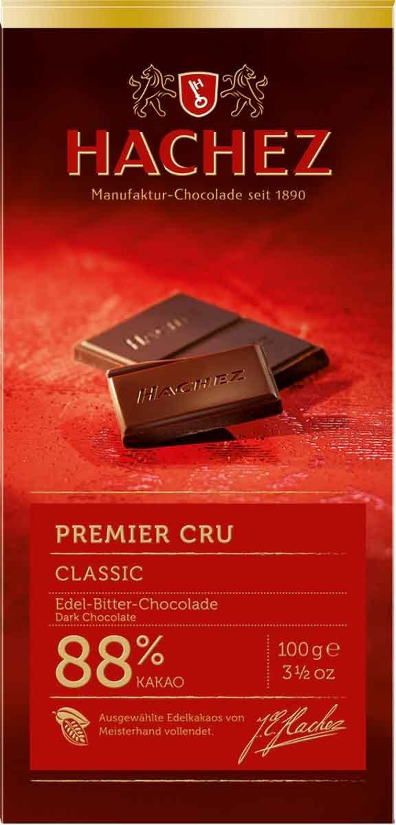 Hachez Premium Cocoa Chocolate Bar, 88% Premier Cru, 3.5 Ounce