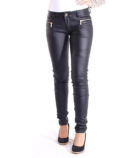 Hailys Damen Stretch Wetlook Biker Jeans Hose in schwarz