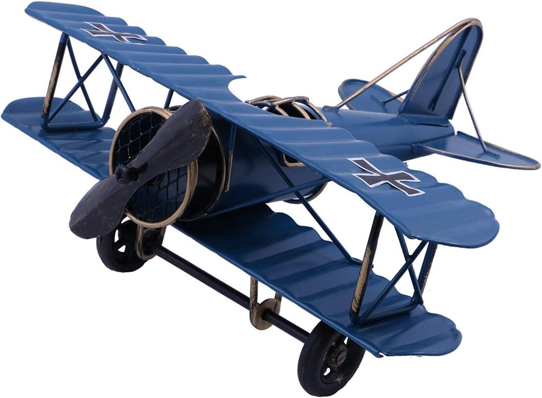 Photo Props Home Decor//Ornament//Souvenir Study Room Desktop Decoration Vintage//Retro Iron Metal Propeller Airplane Plane Aircraft Handicraft Models Blue