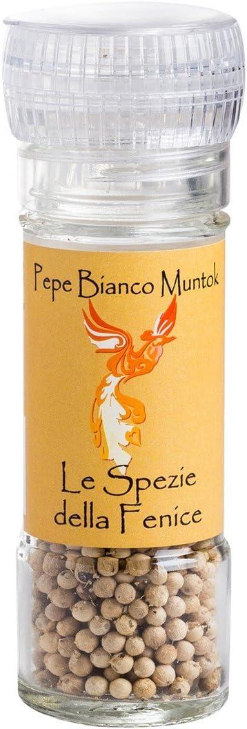 Spezie della Fenice Poivre blanc Muntok 25g Sarawak au poivre noir 25g et Bis de poivrons avec moulin Gourmet Selection